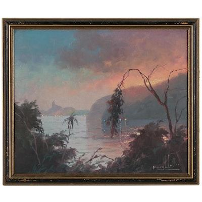 Francisco Coculilo Rio De Janeiro Landscape Oil Painting