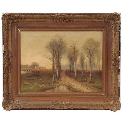 W. Warren Brown Country Landscape Oil Painting, Late 19th to Early 20th Century
