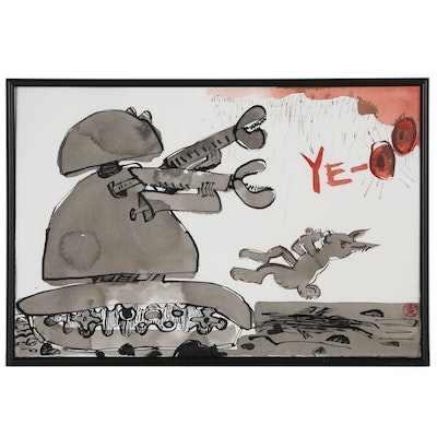 Joel Feldman Ink and Watercolor Painting of Robot Fighting Rabbit