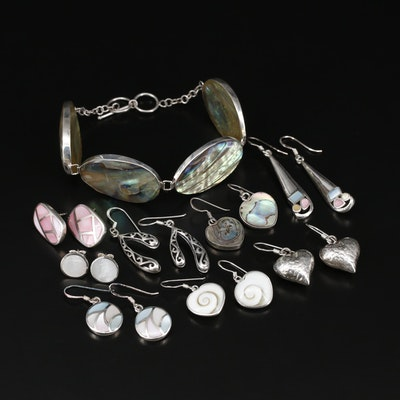 Sterling Earrings and Bracelet Including Abalone, Mother of Pearl and Shell