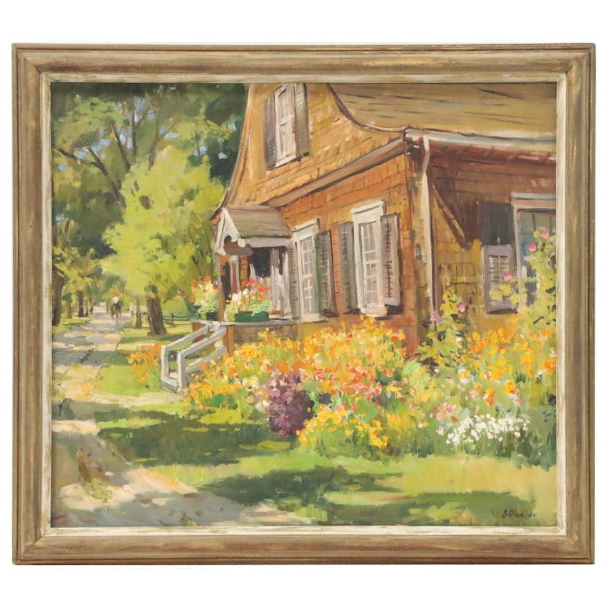 George Cherepov Residential Landscape Oil Painting, Mid to Late 20th Century