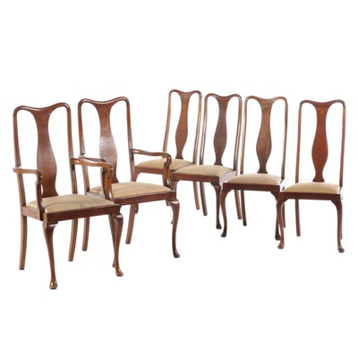 Queen Anne Style Mahogany Upholstered Dining Chairs, Early 20th Century