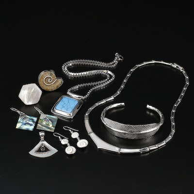 Sterling Jewelry with Fossilized Ammonite, Abalone and Mother of Pearl