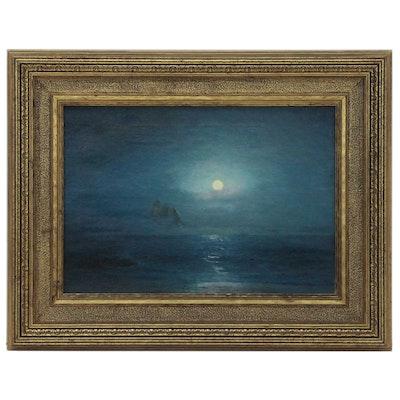 David Howard Hitchcock Seascape Oil Painting, 1917