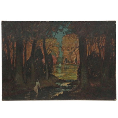 Robert Whitmore Oil Painting of Figure in Wooded Landscape