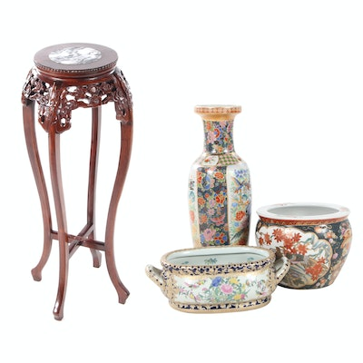 Chinese Style Carved Plant Stand with Inset Marble Top with Vase and Fishbowls