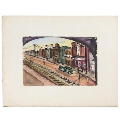 """Ernest Fiene Watercolor Painting """"Street Scene"""""""