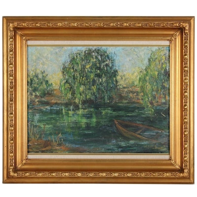 Lagoon Landscape Oil Painting, Late 20th Century