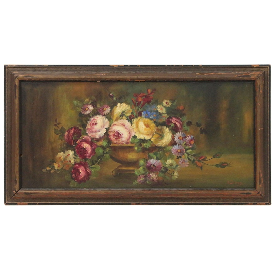 Beulah Driver Floral Still Life Oil Painting, Early 20th Century
