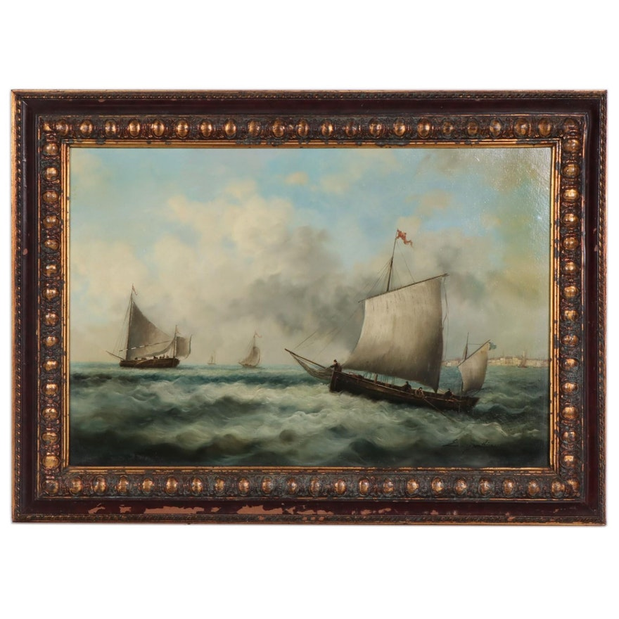 Ernest de Chamaillard Maritime Oil Painting, Late 19th/Early 20th Century