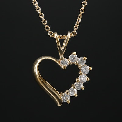 Sterling Cubic Zirconia Heart Pendant on Cable Chain