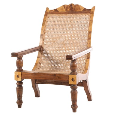 West Indies Coconut Shell Veneer and Teak Planter's Chair, Early 20th Century