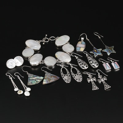 Collection of Sterling Silver Jewelry with Abalone and Mother of Pearl