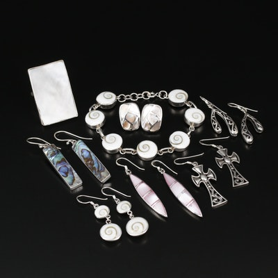 Collection of Sterling Jewelry with Mother of Pearl, Abalone and Shell