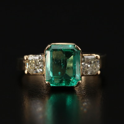 14K Yellow Gold 2.40 CT Emerald and Diamond Three Stone Ring