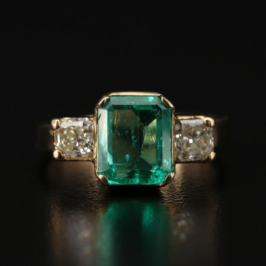 14K Yellow Gold 2.40 CT Emerald and Diamond Three Stone Ring