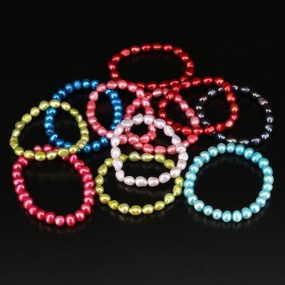 Multi-Colored Pearl Beaded Expandible Bracelets
