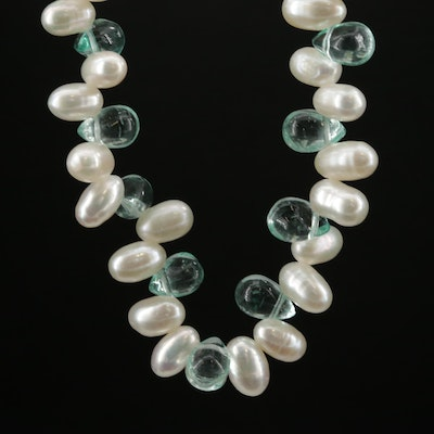 Pearl and Apatite Necklace with 14K Gold Clasp