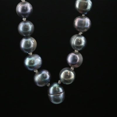 Knotted Cultured Pearl Necklace With 14K Yellow Gold Clasp