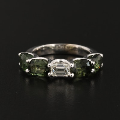 14K Gold Diamond and Tourmaline Ring