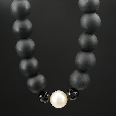 Cultured Pearl and Beaded Black Onyx Necklace With 14K Yellow Gold Clasp