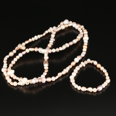 Pearl Necklace, Bracelet and Sterling Earrings Set