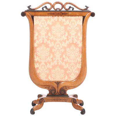 Charles X Parcel-Ebonized, Fruitwood, and Marquetry Fire Screen, circa 1830