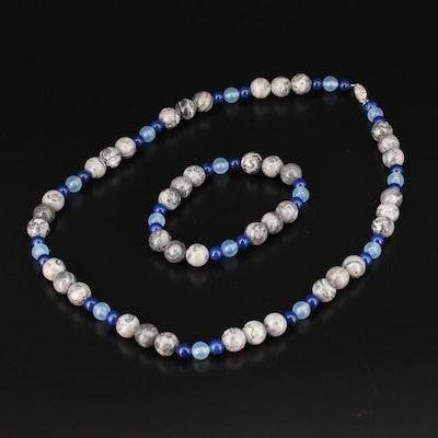 Jasper, Lapis Lazuli and Quartz Necklace with Sterling Clasp