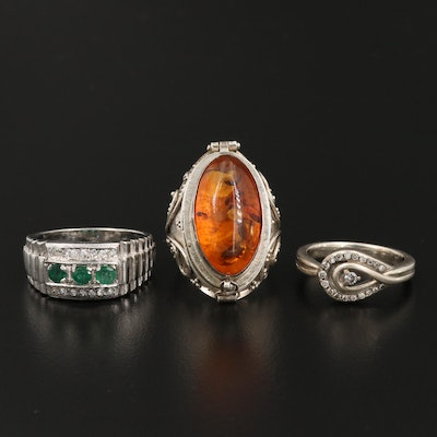 Sterling Silver Ring Selection Featuring Diamond and Gemstone Accents
