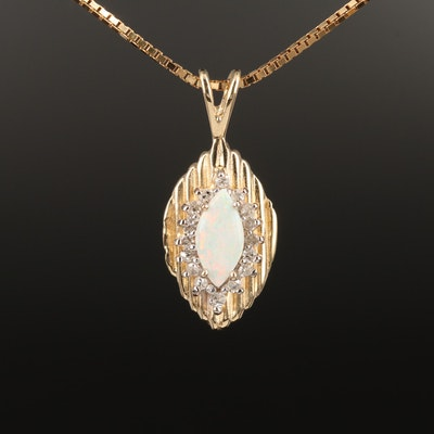 14K Gold Opal and Diamond Necklace