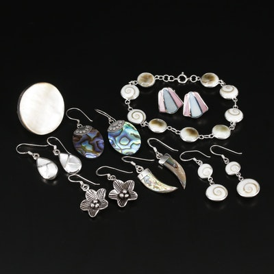 Sterling Silver Jewelry with Mother of Pearl, Shell and Abalone