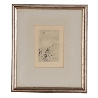 """Pierre-Auguste Renoir Second State Etching """"Sur la Plage, à Berneval"""""""