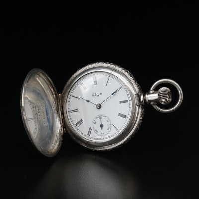 Elgin 900 Silver Engraved Hunting Case Pocket Watch, Antique