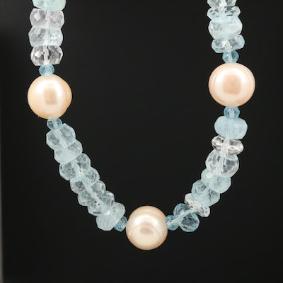 Aquamarine, Apatite, and Cultured Pearl Necklace With Sterling Silver Clasp