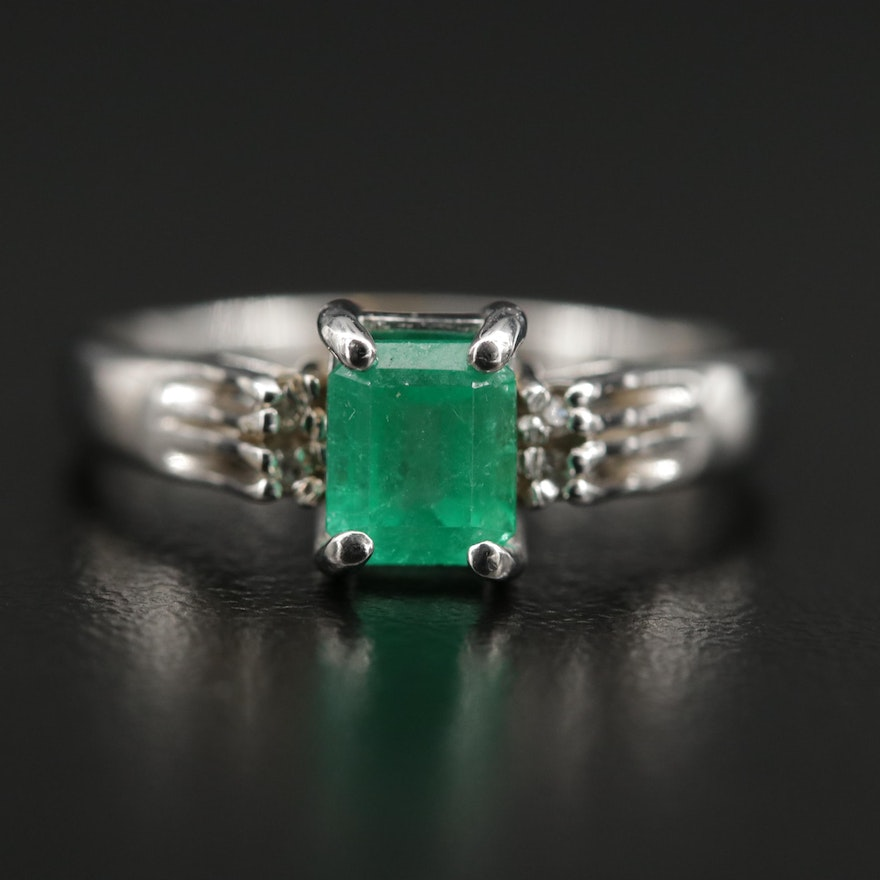 14K Emerald Ring with Diamond Accents
