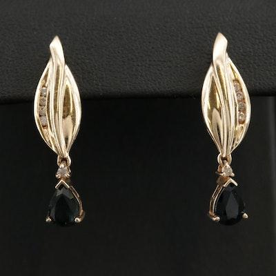 14K Yellow Gold Sapphire and Diamond Earrings