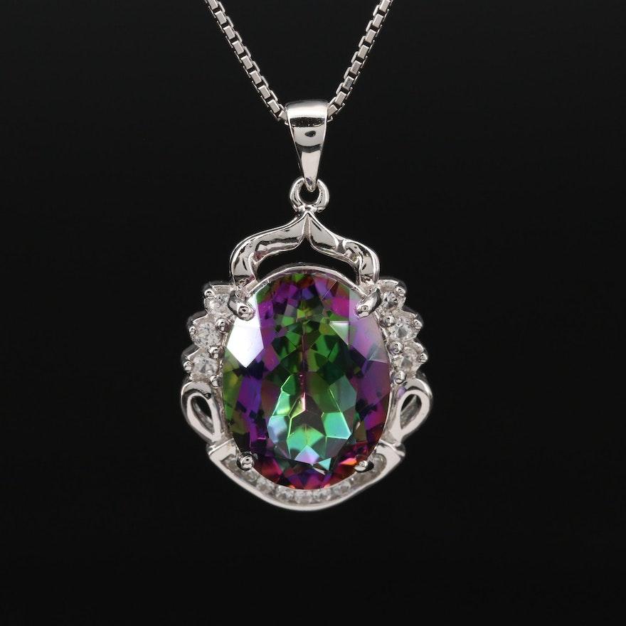Sterling Silver Quartz and White Sapphire Pendant Necklace