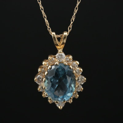 14K Gold Topaz and Diamond Pendant Necklace