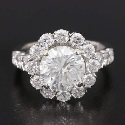 14K White Gold 4.12 CTW Diamond Ring with GIA Report