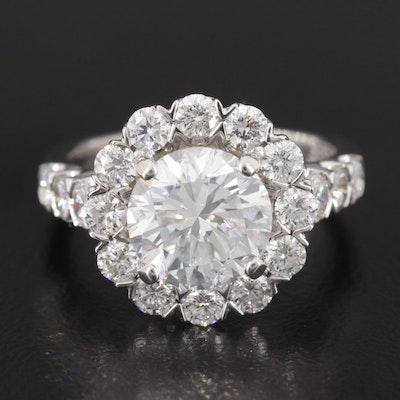 14K White Gold 4.12 CTW Diamond Ring with GIA Report