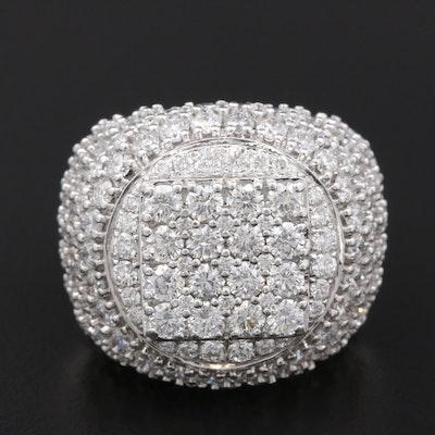 14K White Gold 6.00 CTW Diamond Bombé Ring