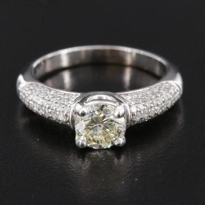 14K White Gold 1.57 CTW Diamond Ring