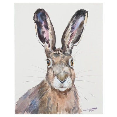 "Ganna Melnychenko Watercolor Painting ""European Hare Portrait"""