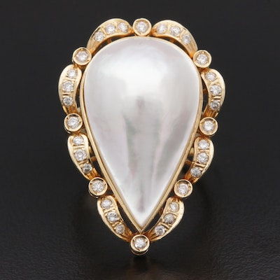 14K Yellow Gold Cultured Pearl and 0.50 CTW Diamond Ring