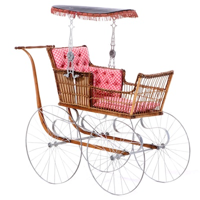 Late Victorian Wicker, Oak, and Metal Baby Pram, Late 19th/Early 20th Century