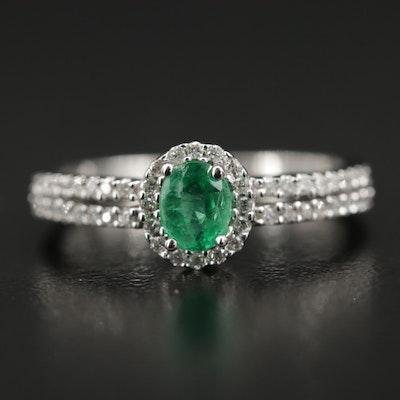 14K White Gold Emerald and Diamond