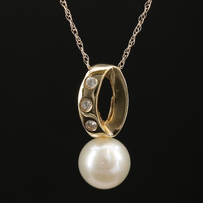 14K Yellow Gold Pearl and Diamond Pendant Necklace