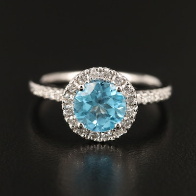 14K Gold Topaz and Diamond Halo Ring