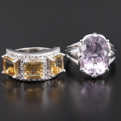 "Sterling Silver Rings with ""Rose De France"" Amethyst and Citrine"