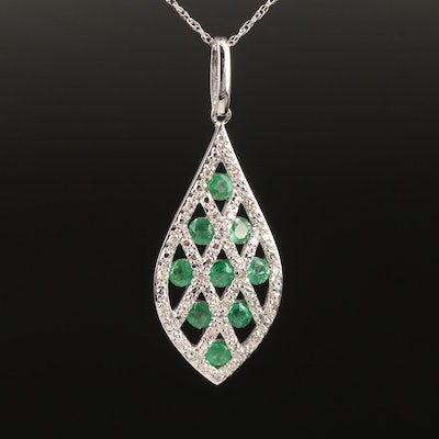 14K White Gold Emerald and Diamond Pendant Necklace